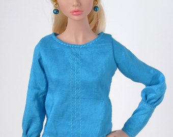 Vibrant blue blouse for Poppy Parker or Made to Move Barbie dolls