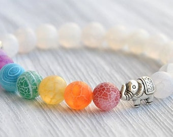 Bracelet chakras yoga energy healing elephant charm bead