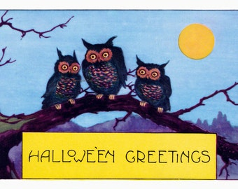 Halloween Greeting Card | Owls Full Moon | Whitney Repro Number 2