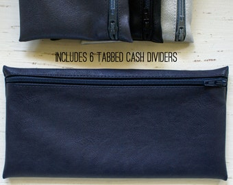 Navy unisex envelope system wallet with 6 tabbed category dividers | faux fused leather