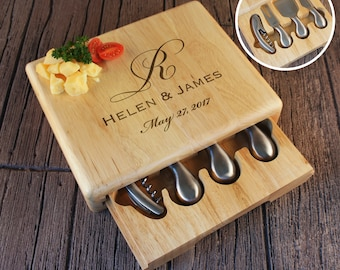 Personalized Cheese Board with Wine Corkscrew & Cheese Cutlery Set Engraved with Monogram Design Options and Font Selection (Each)