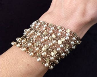 Gold & Pearls 10-Chain Bracelet - vintage piece in beautiful condition!