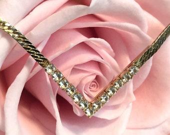 Vintage Avon Faux Diamond Rhinestone Necklace on a Gold Tone Chain