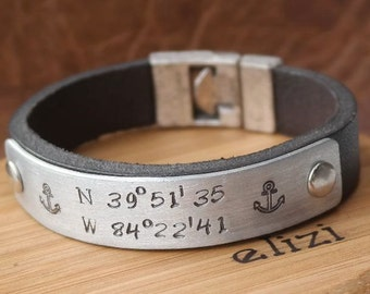 Birthday Gift For Men Personalized Custom Coordinates Personalized Leather Bracelet Husband Gift GPS Coordinates Gift for Him, Mens gift