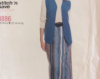McCalls 8886, Uncut Sewing Pattern, Misses Lined Vest and Pull-on Skirt, Size 12-14-16-18, 1997