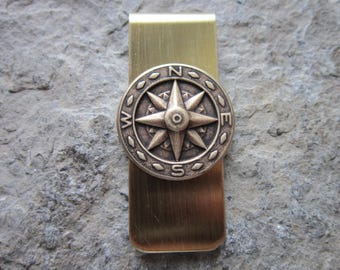 Gold Plated Brass Compass Money Clip - Father's Day Gift - Dad Gift - Father's Day - Nautical - Naval - Navy