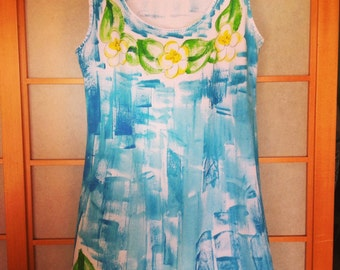 Best Selling Hand Painted Dress - Sun Dress - Woman Beach Dress - Resort Dress - Plus Size Dress - Cotton Cover Up - Blue dress