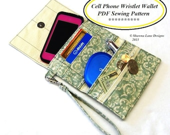 women's wallet sewing pattern, digital sewing pattern, tutorial, purse pattern, cell phone accessory, easy sewing project, gifts to make