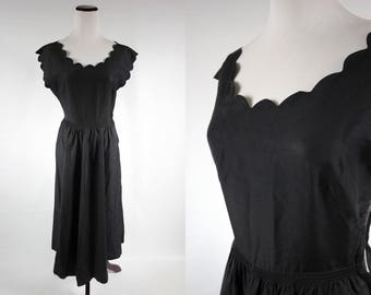 1950's Black Scalloped Midi Evening Dress