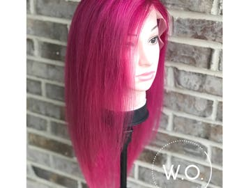 Lace front women's wig, magenta shadow root, pink, 130 density