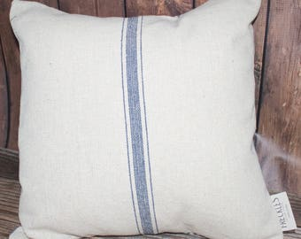 Blue Stripe Grain Sack Pillow COVER ONLY. Farmhouse decor. Striped Linen Pillow. Farmhouse Pillow. French linen.