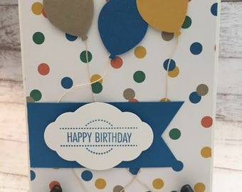 Birthday Card, Balloon Birthday Card, Happy Birthday, Handmade Card, Cheerful Birthday, Polka Dot Birthday, Stampin' Up!