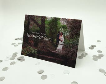 Winter Wedding / Christmas Wedding Thank You Card with Photograph