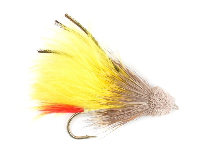 Hand-Tied Fly Fishing Trout Flies: Yellow Marabou Muddler Minnow Classic Streamer Wet Fly - Hook Size 4