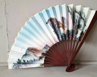 Vintage Paper Fan Oriental Mountain Design