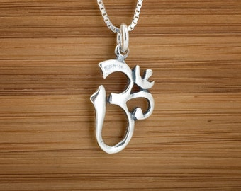 STERLING SILVER Ohm Charm - Om Namaste Charm Necklace or Earrings -  Chain Optional