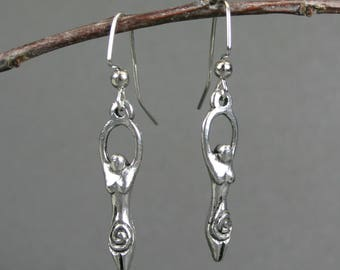 Antiqued pewter goddess dangle earrings, goddess earrings, silver earrings