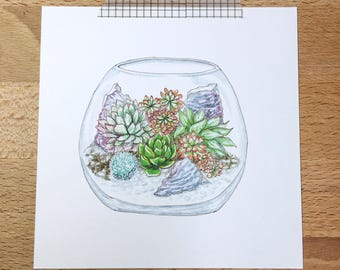 Plant Art Mini Print: terrarium, watercolor, illustration, art print