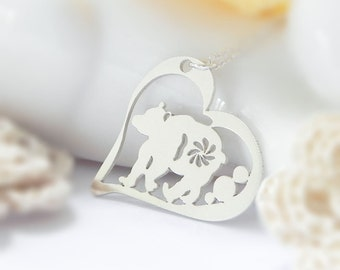 Bear Necklace, Heart, Sterling Silver