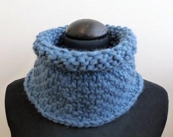 Blue hand knit cowl neck warmer