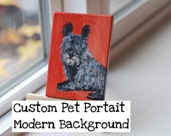 Custom Pet Portrait, Original Acrylic Painting, Dog, Cat, Horse, Bird, Fish, Any Animal - Solid Background