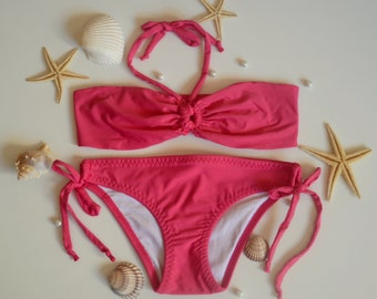 Baby girl bikini/Hot pink girls bandeau bikini set/Baby swimsuits/Children swimwear/Kids swimsuits /Bathing suit girls/Toddler swimsuits