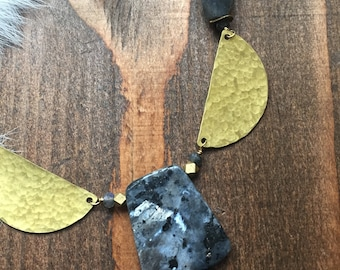 Larvikite Hammered Brass Fan Necklace