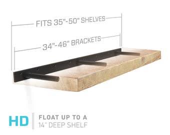 "Floating Shelf Bracket for 35"" to 50"" Long Floating Shelf - HEAVY DUTY - Hardware Only (US Patent 9,861,198)"