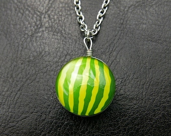 Watermelon Necklace, Double sided cabochons