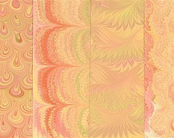 Hand Marbled Paper Set: 4 Sheets 8x11 (Blushing Sunshine)