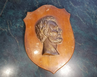 Vintage Abraham Lincoln Wall Plaque with 3D Lincoln in Profile Mounted on Wood