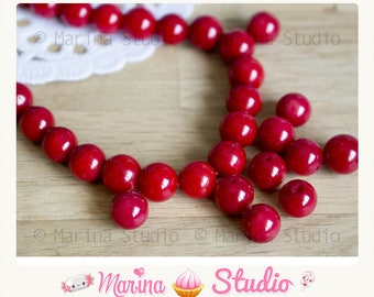 5 natural coral beads 8mm red - coral - red.