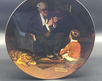 "VTG Knowles Collector Plate ""The Tycoon"" Norman Rockwell #17091B COA Box"