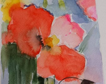 Painting with watercolor flowers