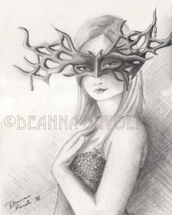 ART PRINT 8x10 Fantasy Goddess Mask Masquerade Drawing