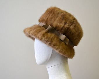 1960s Light Fur Hat with Grosgrain Band
