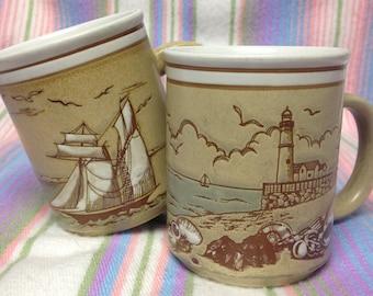 Vintage Ceramic Embossed Nautical Seashore Mugs