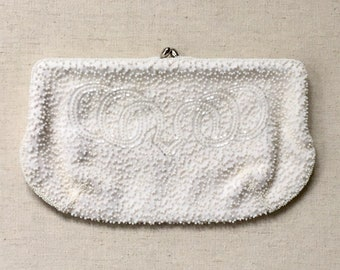 White Beaded Clutch Purse Walborg Made in Belgium by Hand  Vintage 50's Ivory Cream Pearl Seed Bead Wedding Bridal