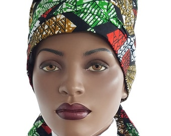 Nabru Turban Hat™ Wrap Hair Wrap Hat Turban Cotton Red Gold Green Black African Print Cotton Turban Hat Satin Lined Head Turban Handmade