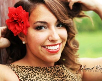 Red Rose Hair Clip- Pinup Rockabilly Rose