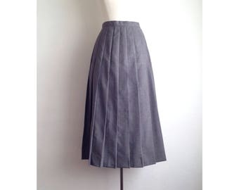 long pleated skirt womens gray skirt vintage pleated midi skirt grey vintage skirt high waisted