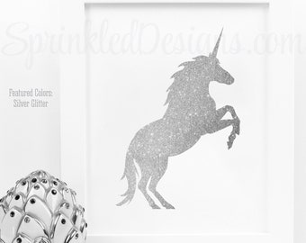 Printable Unicorn Sign, Silver Glitter Unicorn Silhouette, Unicorn Nursery Room Wall Art Printables, Little Girls Room Decor, Birthday Party