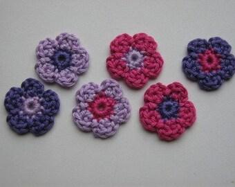 Set of 6 flowers Crochet Flower Appliques (Purple, Lavender and Pink)