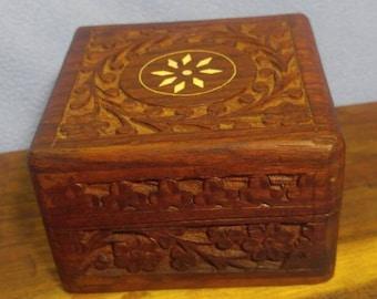 Sale! Handmade Carved Inlaid Dark Wooden Box (was 16.00)