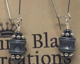 E1858:  Silver, Grey & Black Dangle Earrings with Hematite