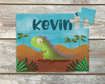 Dinosaur Jigsaw Puzzle / Kids puzzle /  Dinosaur puzzle  / Dinosaur Paintings / Name Personalization / Original Art / Puzzle