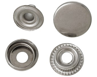 BULK - Silver Snap Closure - Set of 50 - Silver - 15mm - *see note in description*