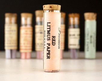 Vintage Glass Vial of Litmus Paper, Red Paper, Pink Label (c.1940s) - Science Collectible, Curio Cabinet Decor, Art, Science Oddity