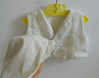 Vintage 1960s White Baby Vest and Bonnet Size 3 - 6 months