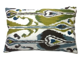 Decorative Lumbar Pillow Cover Green Blue Brown Chartreuse Natural Ikat Design toss Throw Accent 12x18 inch  x
